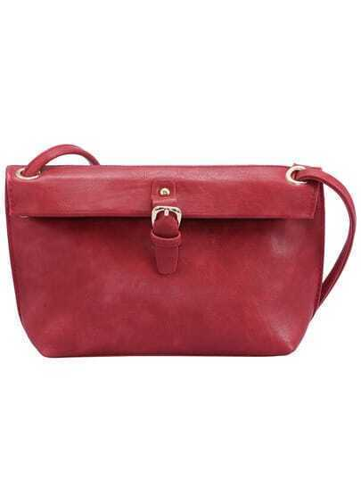 Red Buckle Casual PU Satchel Bag