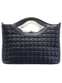 Black Lip Plaid Pattern Satchel Bag