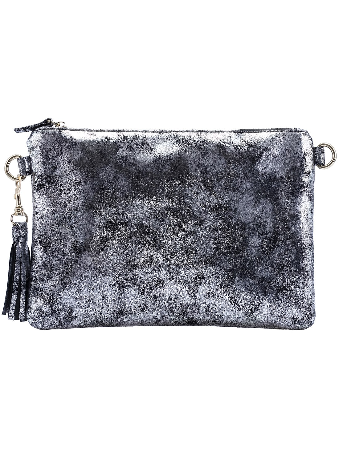 Grey Zipper Clutch Bag