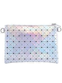Silver Plaid PU Clutch Bag