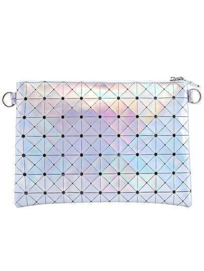 Silver Plaid PU Clutch Bag
