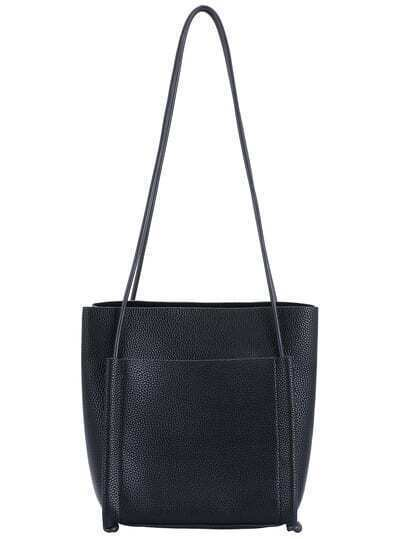 Black PU Two Pieces Shoulder Bag