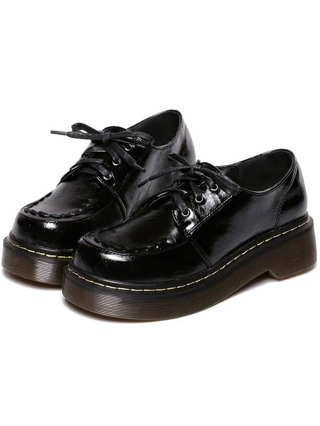 Black Vintage Thick-soled Round Toe Flats