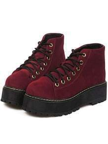 Burgundy Thick-soled Suede Boots