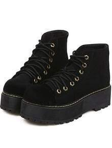 Black Thick-soled Suede Boots