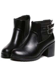 Black Chunky Heel Buckle Strap Vintage Boots