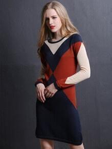 Multicolor Round Neck Silm Sweater Dress