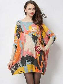 Multicolor Round Neck Graffiti Print Loose Sweater