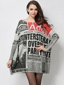 Multicolor Round Neck Letters Print Loose Sweater