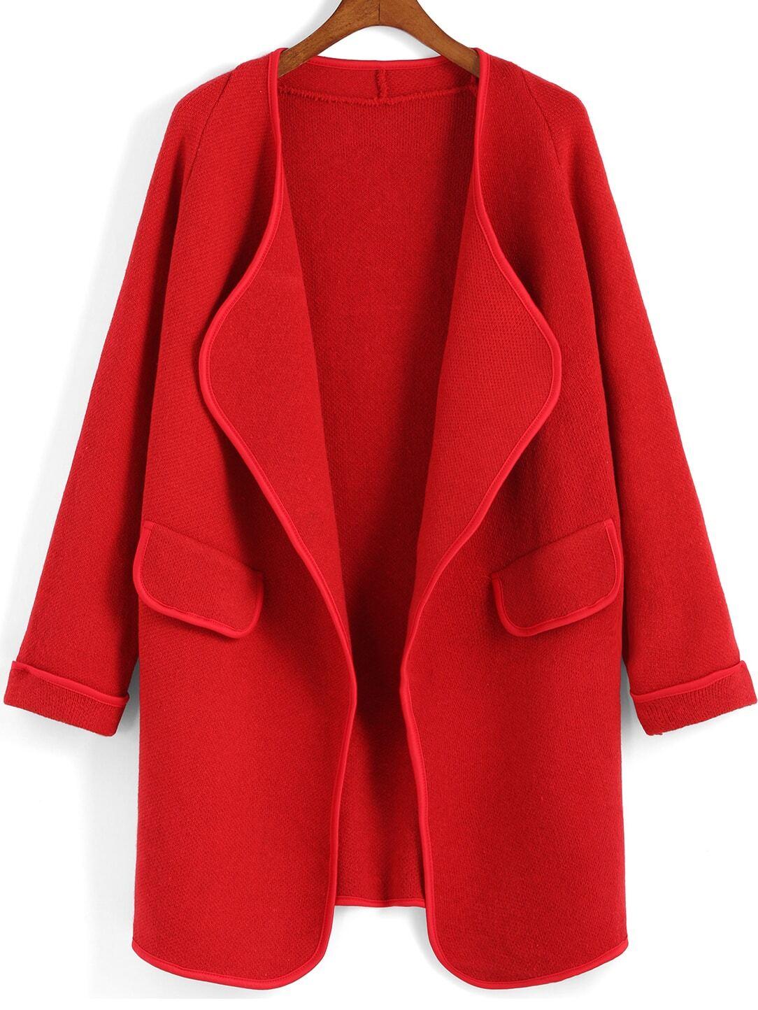 Red Long Sleeve Peplum Trims Sweater Coat -SheIn(Sheinside)