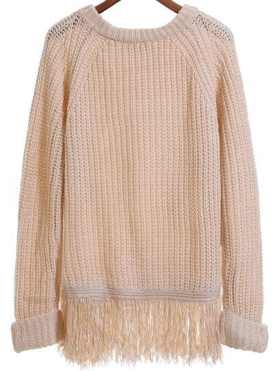Apricot Round Neck Tassel Loose Sweater