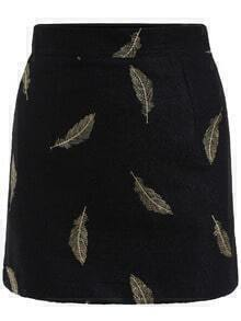 Black Slim Feather Embroidered Skirt