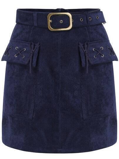 Blue Belt Bandage Corduroy Skirt