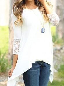 White Round Neck Lace Slim Blouse