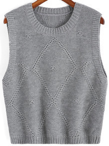 Grey Round Neck Knit Sweater Tank