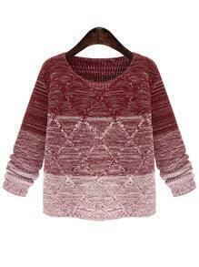 Red Ombre Round Neck Diamond Patterned Sweater