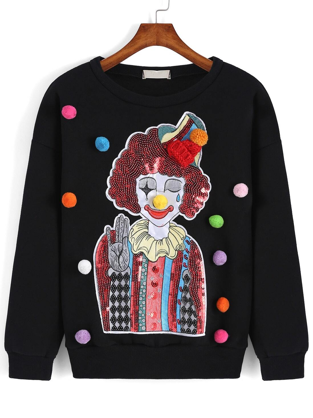 Black Round Neck Sequined Clown Twisted Ball Sweatshirt