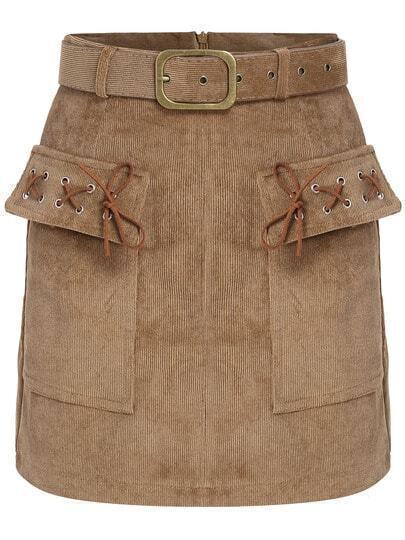 Khaki Pockets Belt Corduroy Skirt