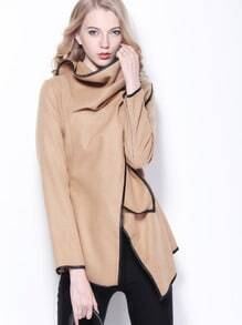Khaki Long Sleeve Contrast Trims Woolen Coat