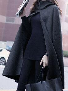 Grey Hooded Loose Cape Coat