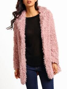 Pink Casual Lapel Faux Fur Coat