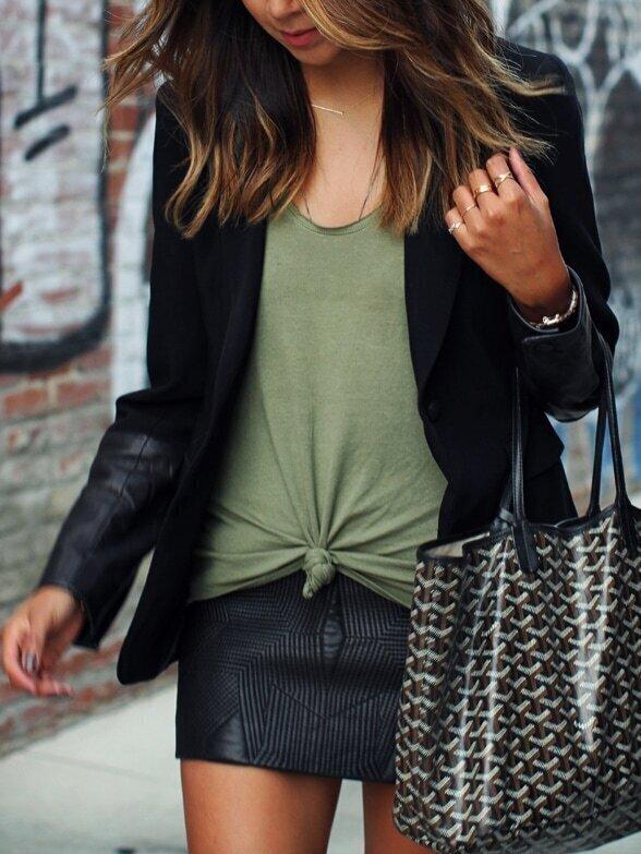 Black Contrast PU Leather Single Button Blazer
