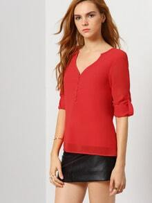 Red Long Sleeve V Neck Blouse
