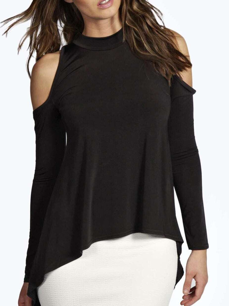 Black High Neck Dip Hem Cutout Shoulder T-shirt