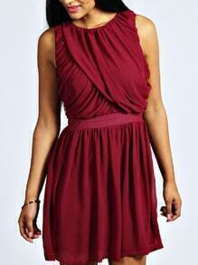 Burgundy Sleeveless Ruched Chiffon Skater Dress