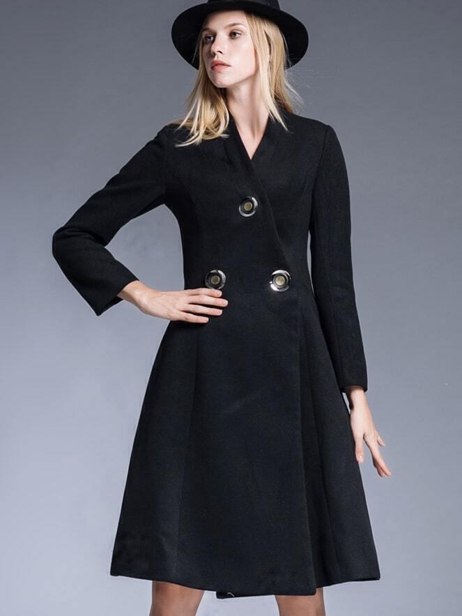 Black V Neck Long Sleeve Pockets Coat