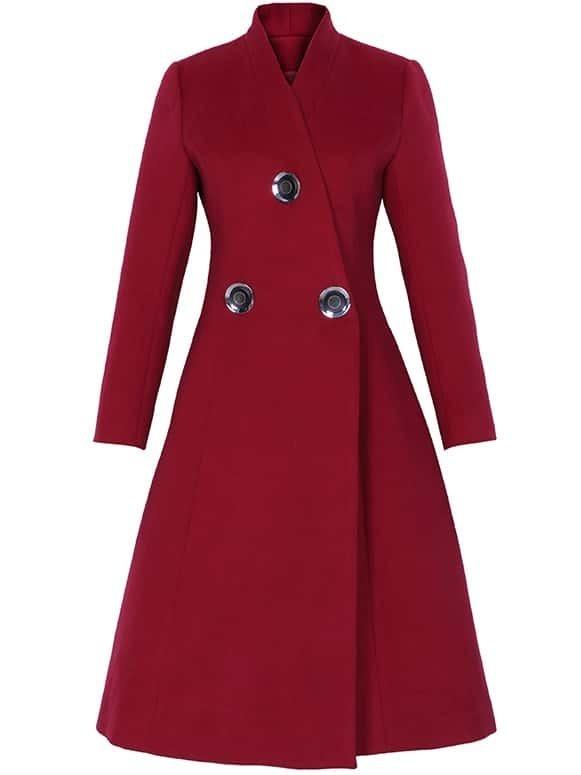 Win Red V Neck Long Sleeve Pockets Coat