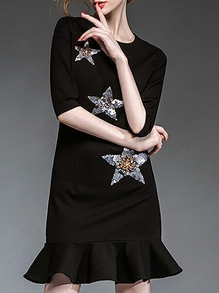 Black Round Neck Half Sleeve Beading Sequined Fishtail Dress
