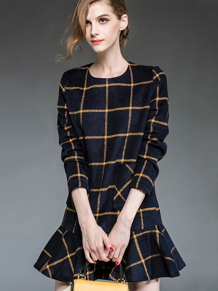 Navy Round Neck Long Sleeve Check Pockets Fishtail Dress