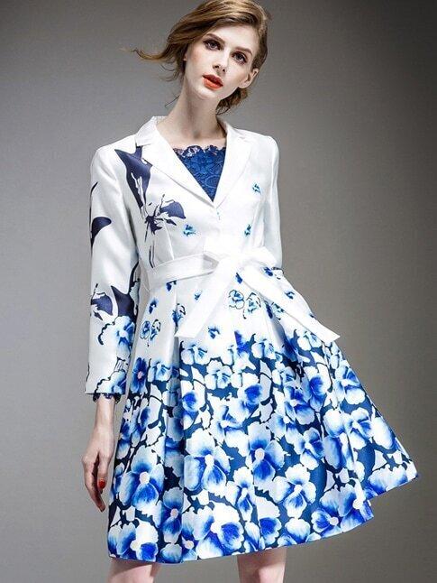 Blue White V Neck Long Sleeve Tie-Waist Pockets Coat