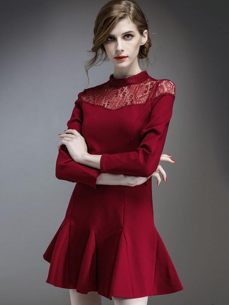 Win Red Round Neck Long Sleeve Contrast Lace Dress