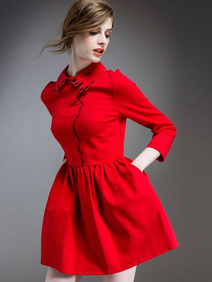 Red Lapel Length Sleeve Pockets Embroidered Dress