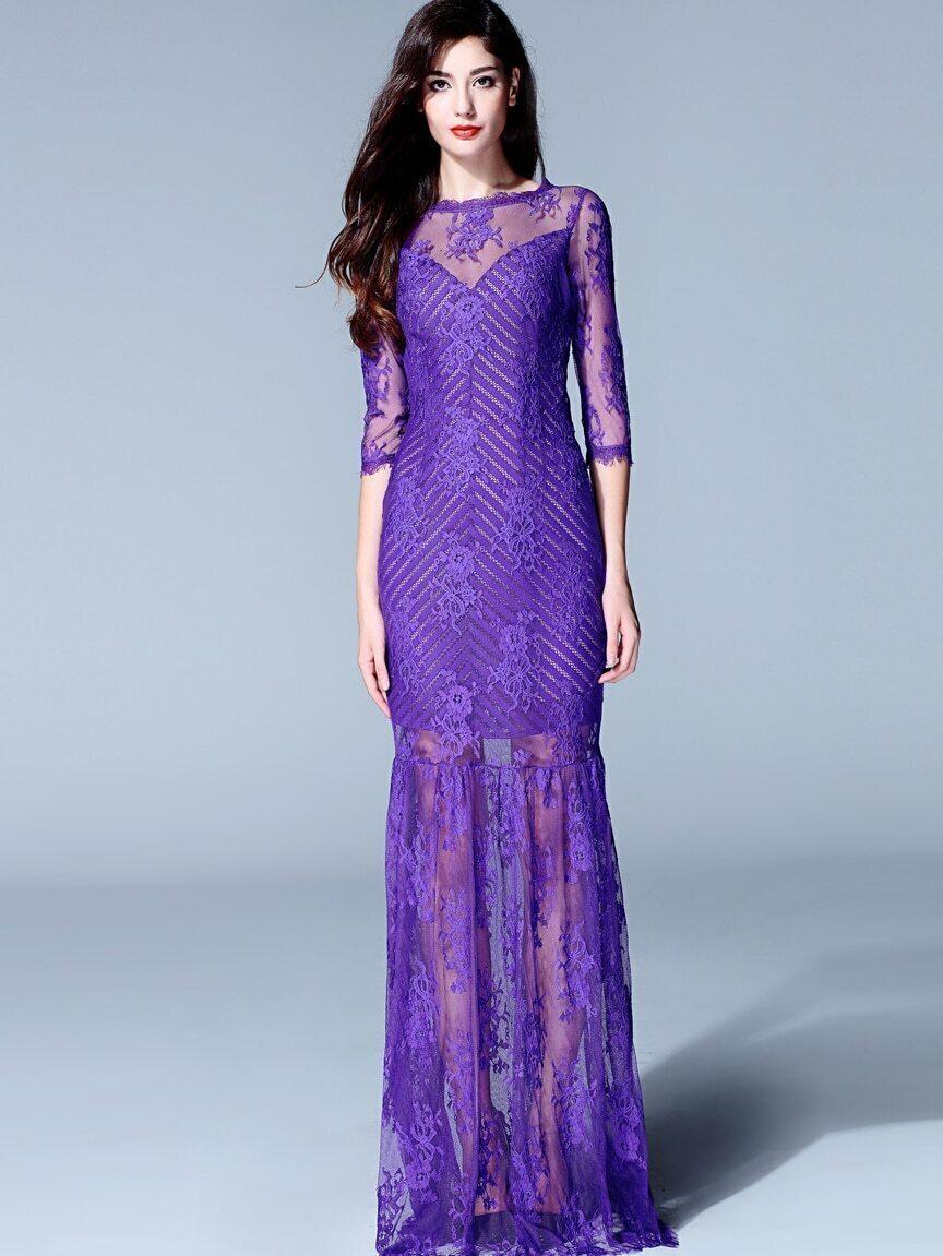 Purple Round Neck Half Sleeve Contrast Organza Embroidered Dress