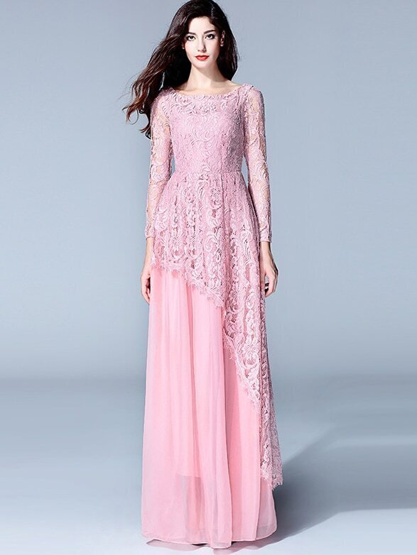 Pink Round Neck Long Sleeve Lace Dress