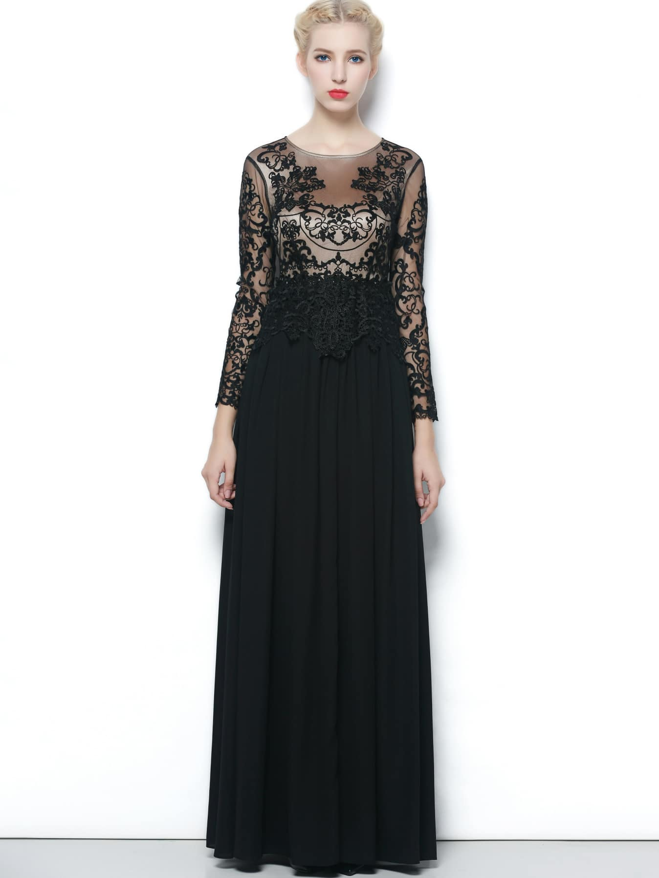 Black Round Neck Long Sleeve Contrast Gauze Lace Dress