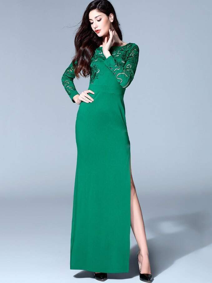Green Round Neck Long Sleeve Hollow Dress