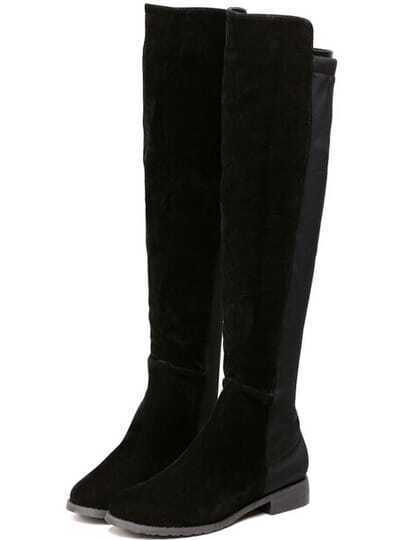 Black Chunky Heel High Boots