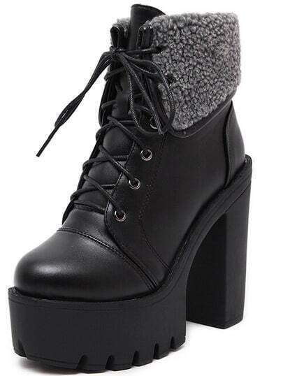 Black High Heel Hidden Platform PU Boots