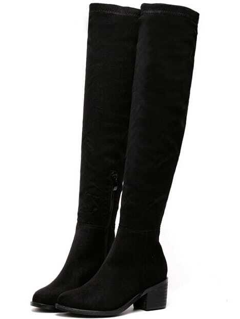 Black Chunky Heel Suede High Boots