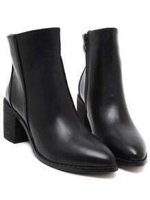 Black Pointy PU Chunky Boots