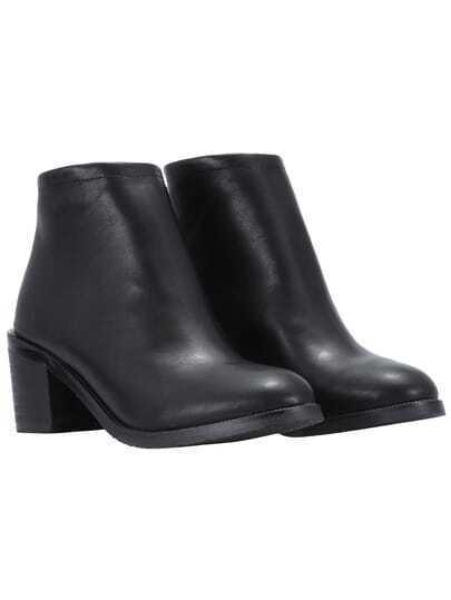 Black Pointy Zipper Back PU Boots