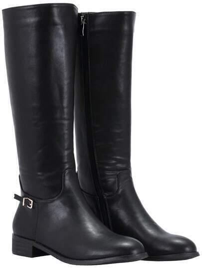 Black Zipper Buckle Strap Tall Boots