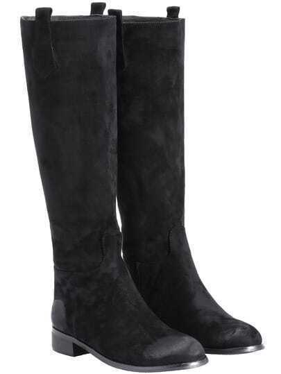Black Brush Round Toe Tall Boots