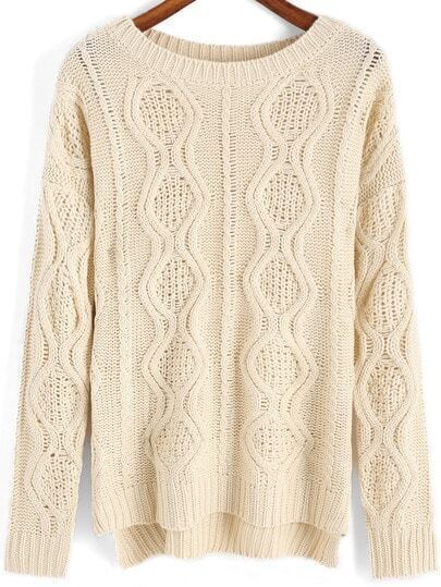 Beige Round Neck Hollow Cable Knit Sweater