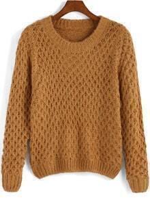 Khaki Round Neck Pineapple Pattern Sweater