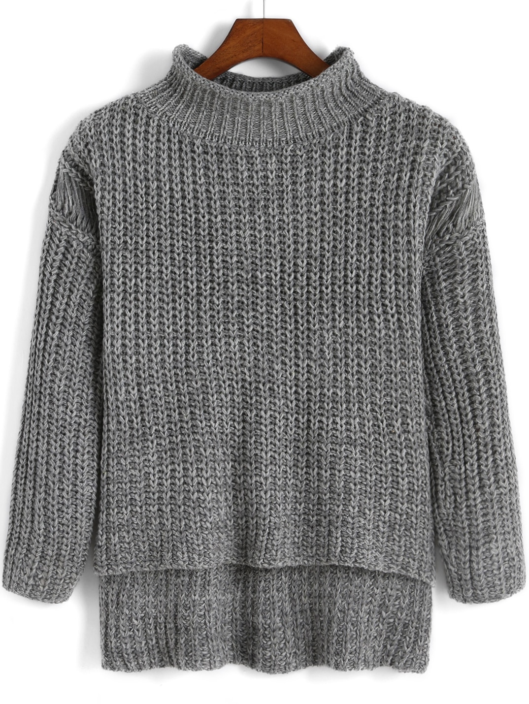 Grey High Neck Dip Hem Knit Sweater